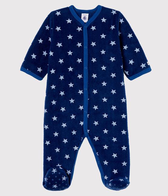 Baby-Pyjama zum Überziehen aus Fleece mit Sternenmuster blau Medieval / weiss Marshmallow