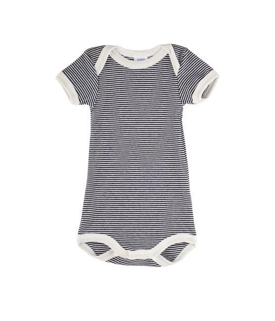 Kurzärmeliger Baby-Body für Mädchen - Jungen blau Smoking / weiss Lait