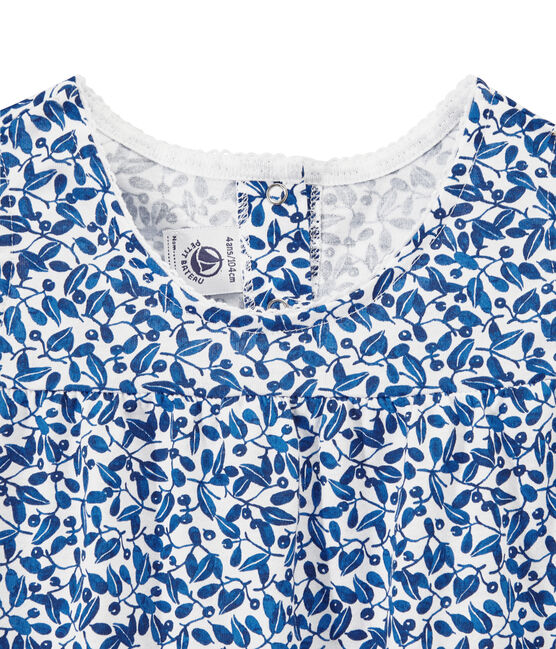 Kurzer bedruckter Mädchen-Schlafanzug aus feinem Jersey weiss Ecume / weiss Multico