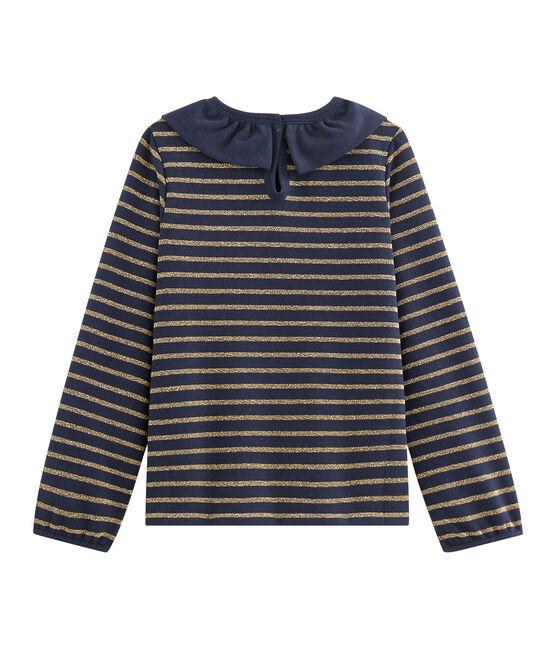 Kinder-T-Shirt Jersey für Mädchen blau Smoking / gelb Or