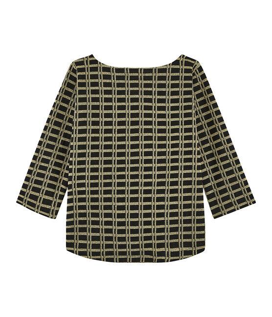Kariertes Shirt für Damen schwarz Noir / gelb Or