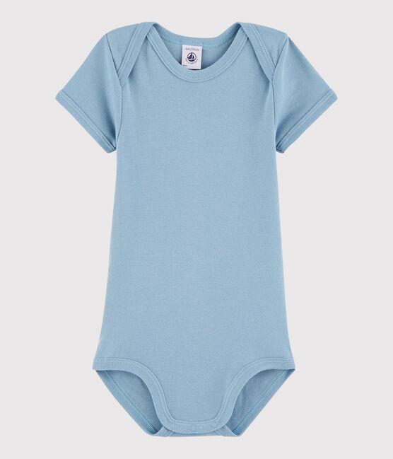 Kurzärmeliger Baby-Body Mädchen/Jungen blau Acier