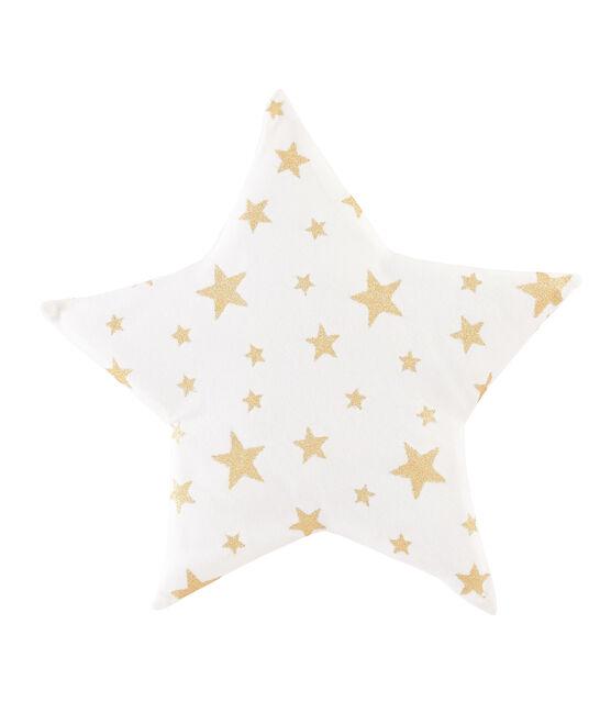 Babykissen aus Rippstrick weiss Marshmallow / gelb Or