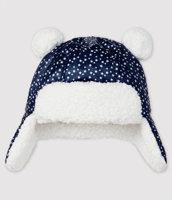 Wasserdichte Baby-Fellmütze für Jungen blau Smoking / weiss Marshmallow