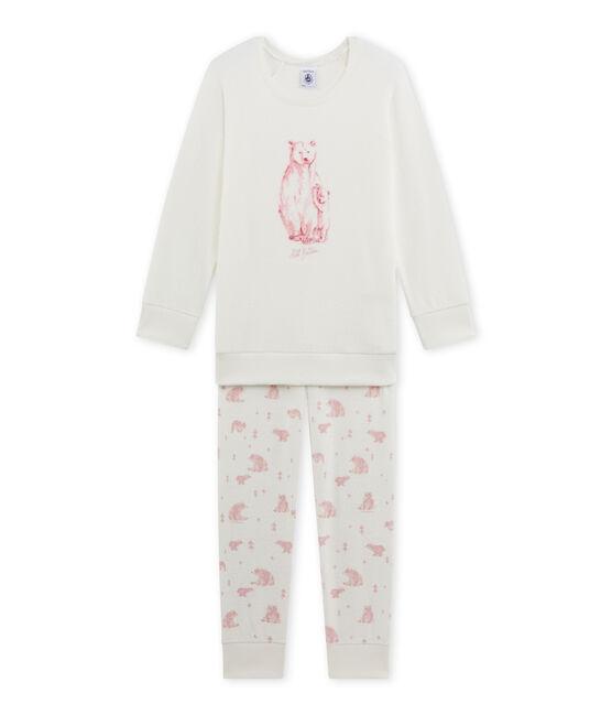 Mädchen-Schlafanzug aus Bouclé-Frottier weiss Lait / rosa Vienne