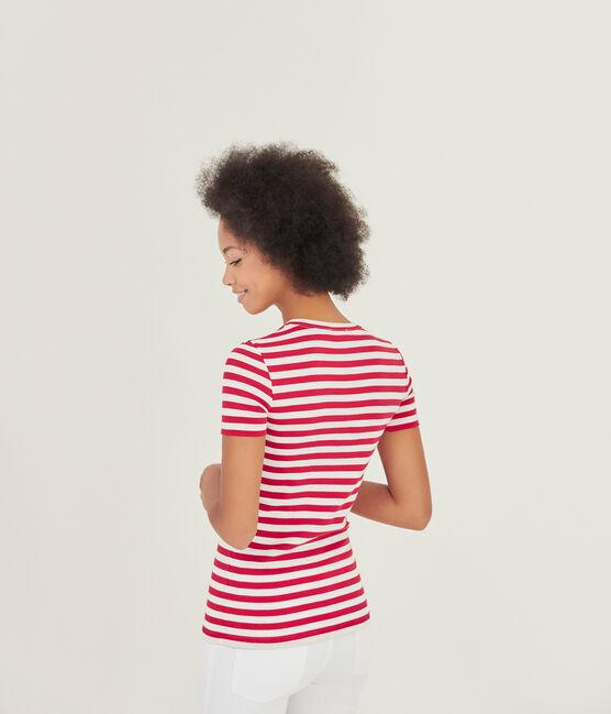 Gestreiftes Damen-T-Shirt aus Original-Rippstrick rot Terkuit / weiss Marshmallow