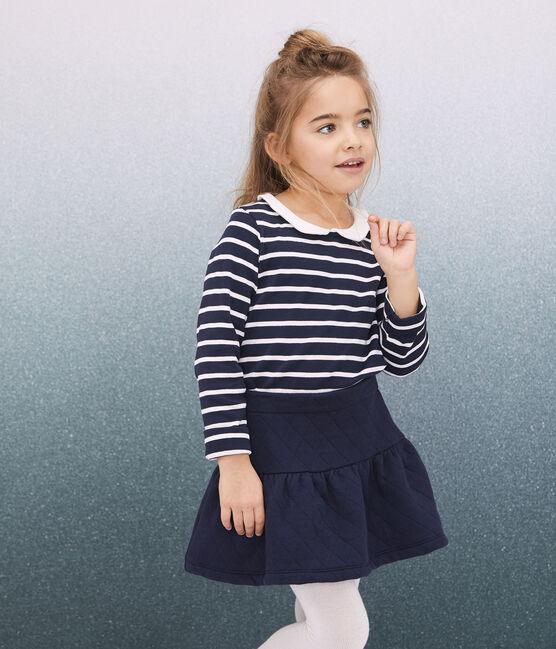 Kinder-Rock aus gestepptem Doppeljersey für Mädchen blau Smoking