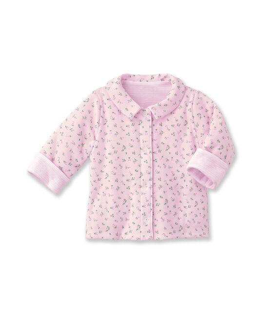 Baby-Jacke, Unisex, wattiert, 2-seitig, Ringelmuster rosa Vienne / weiss Ecume