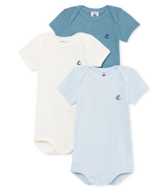 Trio kurzärmelige Baby-Bodys für Jungen aus Baumwolle und Leinen lot .