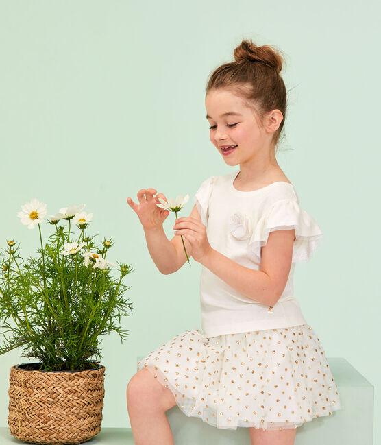 Kinder-Rock für Mädchen weiss Marshmallow / gelb Or