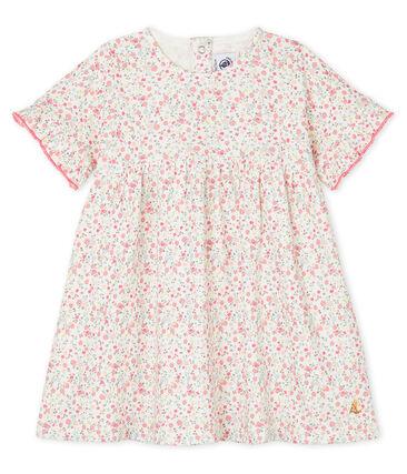 Gemustertes kurzärmeliges Baby-Kleid für Mädchen weiss Marshmallow / weiss Multico
