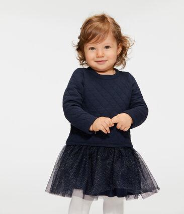 Langärmeliges Babykleid aus Materialmix für Mädchen blau Smoking / weiss Marshmallow