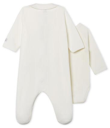 Baby-Strampler mit Reißverschluss aus Velours weiss Marshmallow