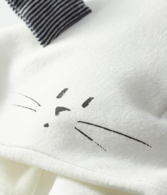 Ikonisches Baby-Cape aus wattiertem Rippstrick weiss Marshmallow / blau Smoking