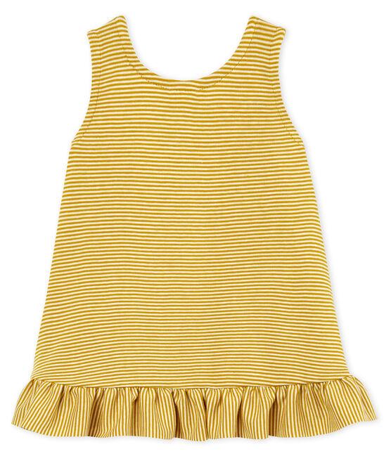 Kurzärmeliges Kleid für Baby Mädchen gelb Bamboo / weiss Marshmallow