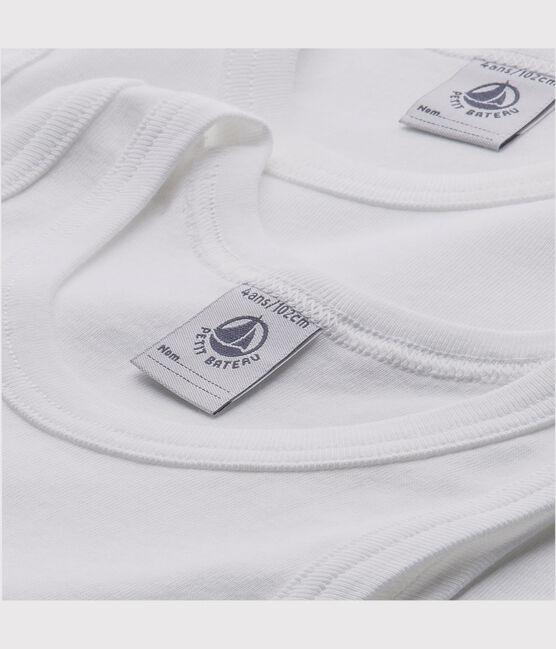 Set aus zwei weißen Achselshirts für Jungen lot .