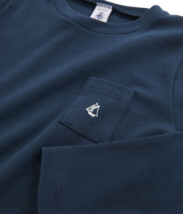 Langärmeliges Kinder-T-Shirt Jungen blau Haddock