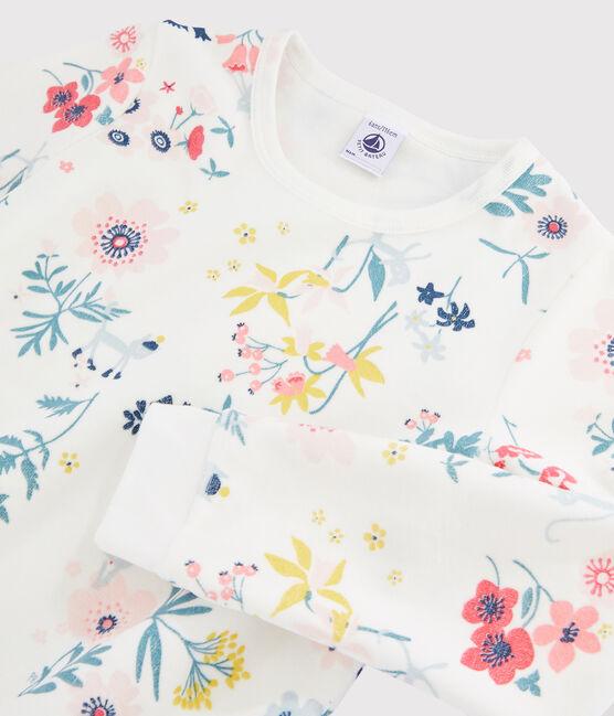 Samt-Pyjama mit Blumen-Print für Mädchen weiss Marshmallow / weiss Multico