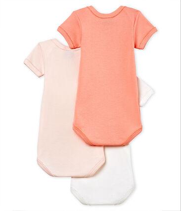 Trio kurzärmelige Baby-Bodys für Mädchen aus Baumwolle und Leinen