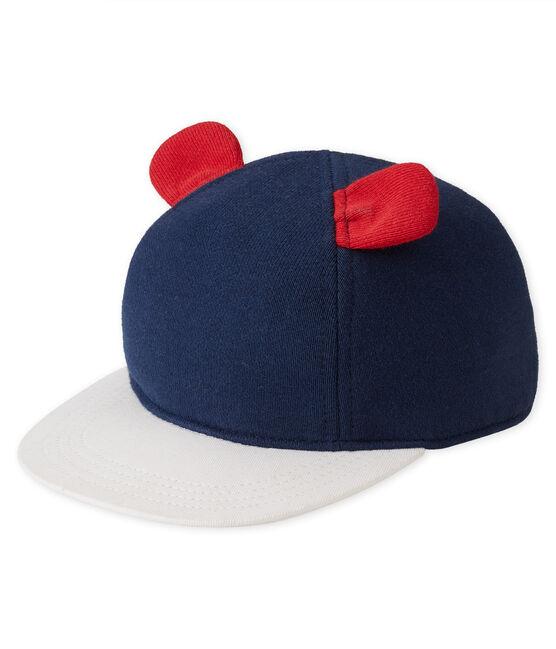 Baby-kappe aus molton blau Smoking / weiss Multico