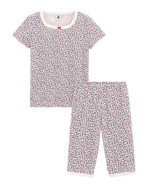 Sehr eng anliegender Rippstrick-Kurzpyjama für kleine Mädchen weiss Marshmallow / weiss Multico