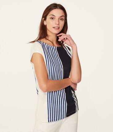 Kurzärmeliges leinen-t-shirt damen weiss Marshmallow / weiss Multico