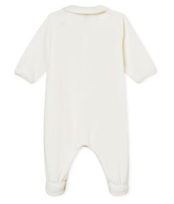 Baby-Strampler mit Reißverschluss aus Samt weiss Marshmallow