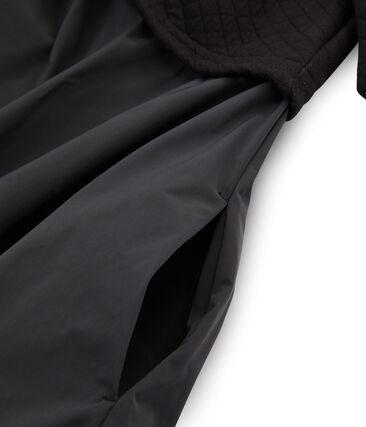Langärmliges Kleid aus Materialmix für Damen schwarz Noir