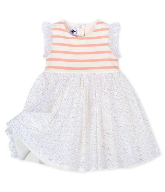 Baby-Kleid aus Materialmix Mädchen weiss Marshmallow / rosa Patience