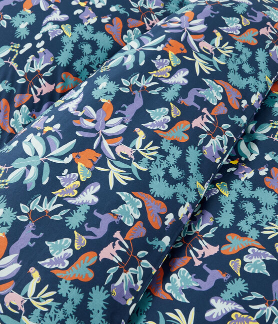 Bettwäsche mit Dschungel-Print aus Popeline blau Medieval / weiss Multico