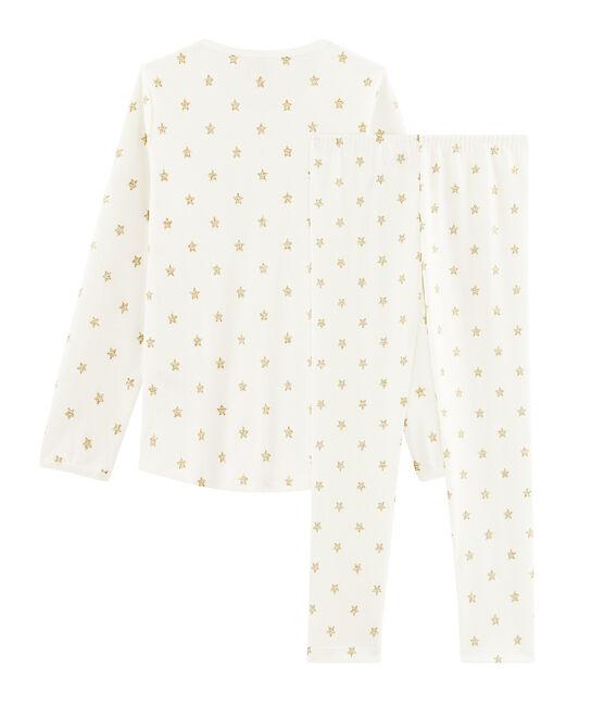 Rippstrick-Pyjama mit Sternen für kleine Mädchen weiss Marshmallow / gelb Or