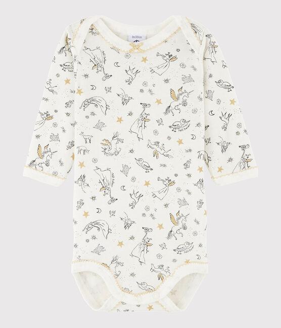 Langärmeliger Baby-Body Mädchen weiss Marshmallow / weiss Multico