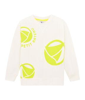 Kinder-Sweatshirt für Jungen - Mädchen weiss Marshmallow / gelb Eblouis