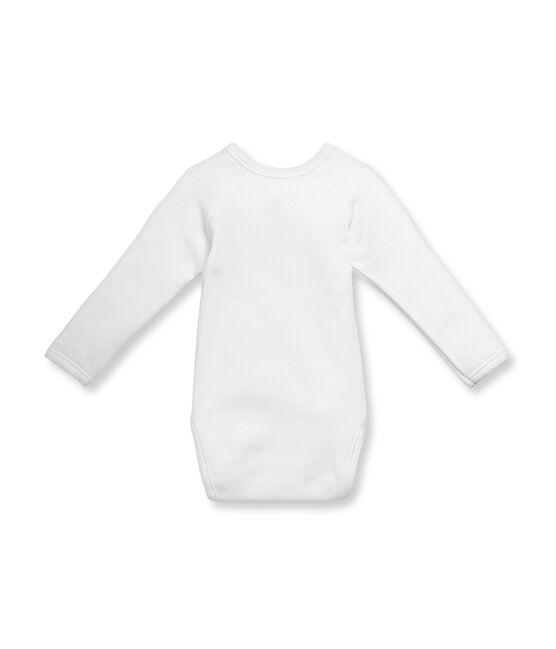 Baby-Wickelbody, Langarm, Unisex, aus angerauter Baumwolle weiss Ecume
