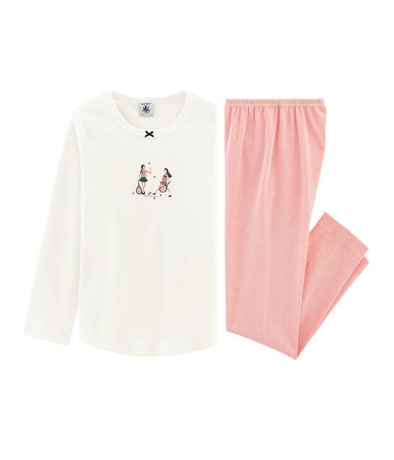 Rippstrick-Pyjama für kleine Mädchen. weiss Marshmallow / rosa Rosako