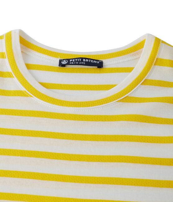 Gestreiftes Damen-T-Shirt aus Original-Rippstrick gelb Shine / weiss Marshmallow
