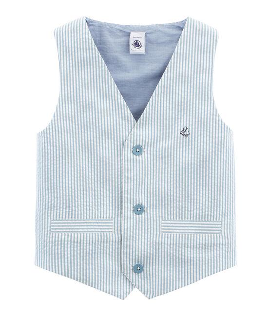 Ärmellose Strickjacke für Jungen blau Fontaine / weiss Marshmallow