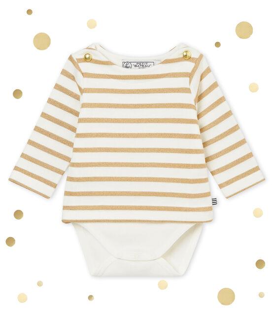 Glitzerndes Baby MädchenBodykleid weiss Marshmallow / braun Brindille Brillant
