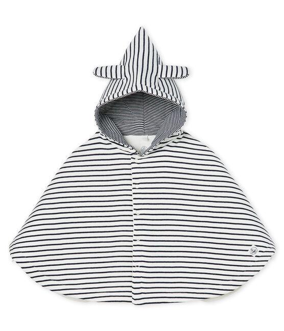 Emblematisches Baby-Cape aus wattiertem Rippstrick weiss Marshmallow / blau Smoking