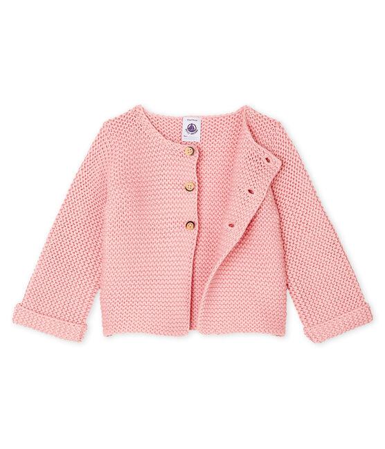 Baby-Cardigan aus Woll-Baumwoll-Mischung in Krausstrick für Mädchen rosa Charme