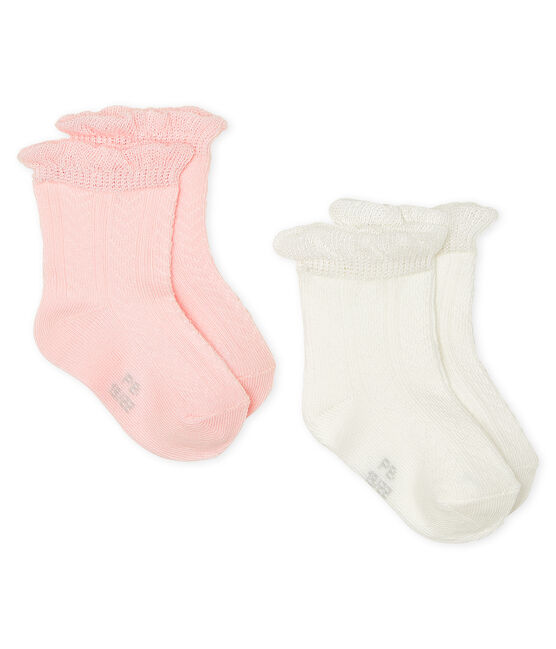 Set aus zwei Paar Babystrümpfen für Mädchen lot .