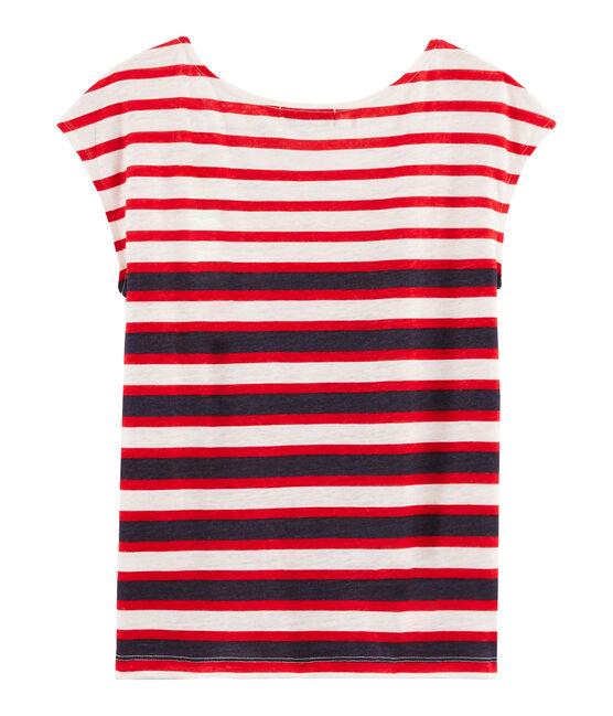 T-Shirt aus Leinen für Damen weiss Marshmallow / rot Peps
