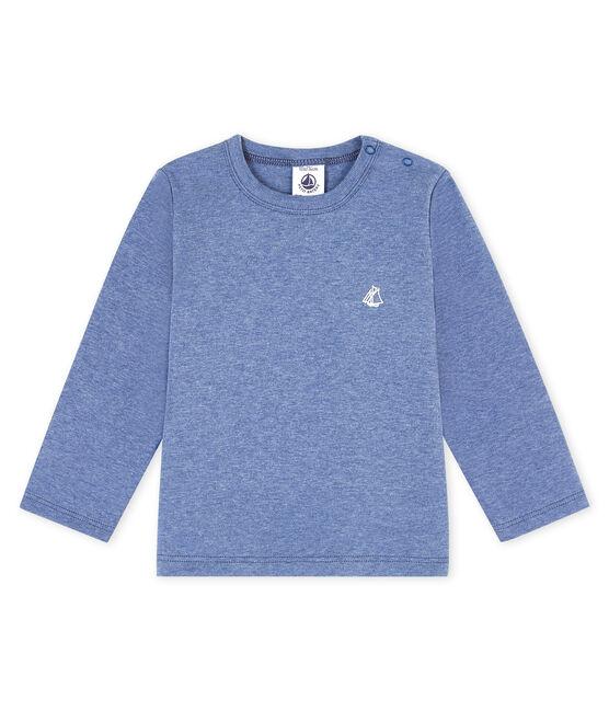 Langärmeliges Baby-T-Shirt blau Captain Chine