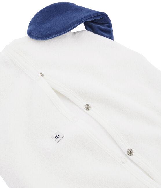 Pyjama-Beutel aus angerautem Bouclé-Frottier. weiss Marshmallow / blau Medieval