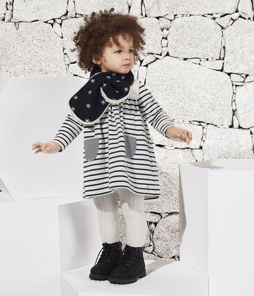 Langärmeliges gestreiftes Babykleid für Mädchen weiss Marshmallow / blau Smoking