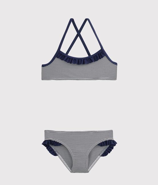 Kinderbadeanzug für Mädchen blau Abysse / weiss Lait