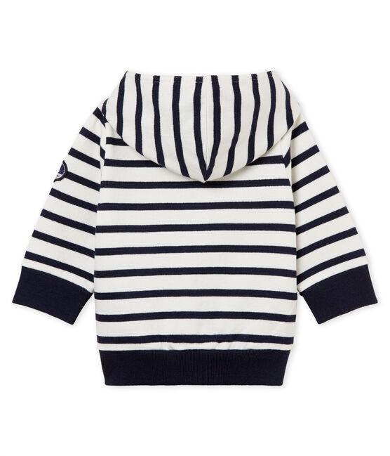 Baby-kapuzenSweatshirt mit seemannsstreifen jungen weiss Marshmallow / blau Smoking