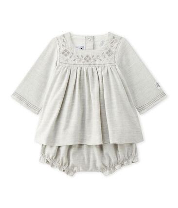 Besticktes Baby-Mädchen-Kleid aus Twill mit Bloomers grau Gris Chine