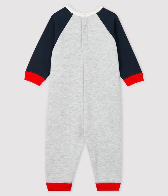 Langer Baby-Overall für Jungen grau Beluga / blau Smoking