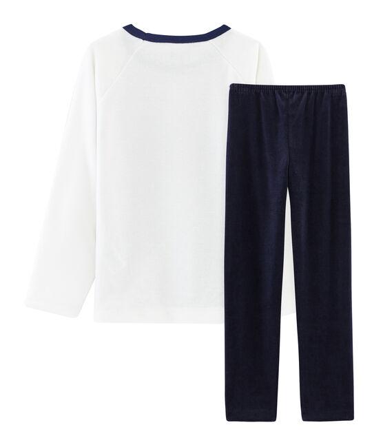 Samt-Pyjama für kleine Jungen blau Smoking / weiss Multico